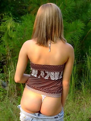 Crazy outdoor amateur shows boobs and asses on public.